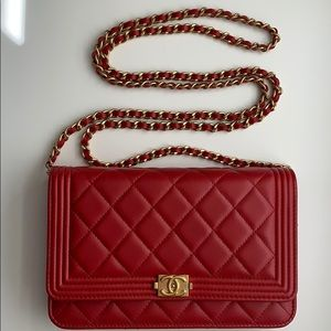 HP💝Chanel Red WOC Wallet on Chain Lambskin Bag